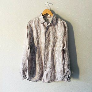 Caribbean Size L 100% Linen Men Cream Striped